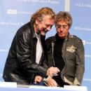 Robert Plant and Roger Daltrey pose at a press conference to announce the Daltrey/Townsend Teen & Young Adult Cancer Program at UCLA on November 4, 2011 in Los Angeles, California - 454 x 449