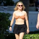 Ellie Goulding in Bandeau Bikini Top – Out in Miami