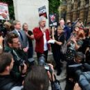 Brian May leads an anti-fox hunting rally for PETA on July 14, 2015 in London, England.