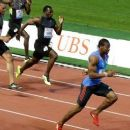 Yohan Blake, right, wins ahead of Tyson Gay, from the US, left, during the men's 100-metre sprint at the Diamond League Athletics meeting in Lausanne, Switzerland. Source: AP