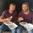 Chris Hemsworth eating Lunch with his Stunt Double, Bobby Holland Hanton - 454 x 335
