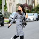 Jessica Gomes in Grey Long Coat – Out in LA - 454 x 553