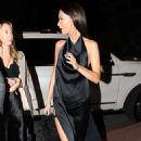 Bella Hadid in High Slit Silky Black Dress – Arriving to a celebrity filled dinner during Art Basel in Miami