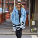 Suki Waterhouse in Blue Fur Coat out in Soho February 3, 2017 - 454 x 554