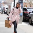 Cobie Smulders in Pinh Coat – Shopping in NYC - 454 x 562