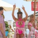 Charlotte Dawson in Pink Swimsuit at Plaza Beach in Marbella - 454 x 303