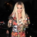 Rita Ora in Striking Graffiti Style Jumpsuit – Leaving her apartment in London