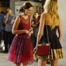 Blake Lively and Leighton Meester filming late night scenes for 'Gossip Girl' (August 3)
