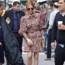 Brittany Snow in Animal Print Mini Dress – Out in NYC