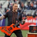 James Hetfield of the rock band Metallica performs the national anthem on the field before the game between the San Francisco Giants and the Colorado Rockies at AT&T Park on May 6, 2016 in San Francisco, California. - 454 x 303