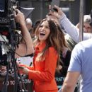 Sarah Shahi – Filming EXTRA TV live in Los Angeles - 454 x 620
