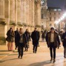 Elizabeth Gillies – On 'Dynasty' Season 2 set at the Louvre in Paris - 454 x 303