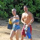 Katy Perry in Floral Print Bikini on the beach in Hawaii