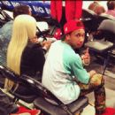 Blac Chyna and Tyga at The Lakers Game in Los Angeles - February 14, 2013