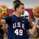 Stephen Curry #49 of the 2015 USA Basketball Men's National Team attends a practice session at the Mendenhall Center on August 11, 2015 in Las Vegas, Nevada - 454 x 340