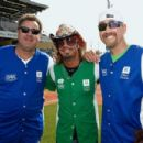 Vince Gill, Bret Michaels and Stephen Bess step up to strike out cancer at City of Hopes 25th Annual Celebrity Softball Game at First Tennessee Park on June 13, 2015 in Nashville, Tennessee.
