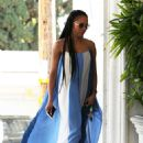Melanie Brown – Wearing a white and blue summer dress in Los Angeles - 454 x 672