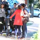 Lea Michele On Set Of Glee In La