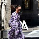 Katie Holmes in a Floral Print Dress in New York City