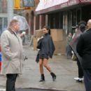 Emily Ratajkowski on a DKNY campaign shoot in New York City - 454 x 303