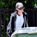Naya Rivera in Tights – Steps out to grab her trash cans after garbage day in Los Feliz - 454 x 302