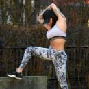 Jemma Lucy in Tights and Sports Bra – Workout in Manchester - 454 x 617