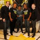 Adidas Head of Sport Performance Eric Liedtke, Olympic Medalist Maurice Greene, Two-time Olympic Champion Haile Gebrselassie, Olympic Medalist Yohan Blake and adidas Creative Director for Sport Performance James Carnes pose for a photo at the Javits Conve