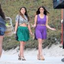 "Shenae Grimes and Jessica Lowndes strolling down the beach on the set of ""90210"" in Manhattan Beach, CA (August 24)"