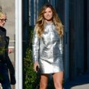 Heidi Klum in Silver Mini Dress – Out in Los Angeles