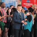 """Justin Timberlake films a scene for """"Friends With Benefits"""" in Times Square in the middle of a dancing flash mob in New York"""