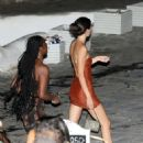 Kendall Jenner in Mini Dress – Headed to a beach nightclub in Mykonos