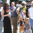 Megan Fox and estranged husband Brian Austin Green are spotted taking their sons Noah and Bodhi to the Farmers Market in Studio City, California on April 17, 2015