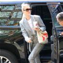 Mackenzie Davis returns to her hotel in New York