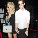 Pixie Lott leaving the Rose Club at 1.30AM hand in hand with a male friend. She then went on to Mahiki, where she partied until 3.30AM - 377 x 594