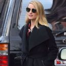 Dianna Agron in a long coat out in New York - 454 x 681
