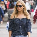 Sienna Miller in Denim Shorts out in New York