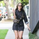 Olivia Culpo in Mini Dress and High Boots – Shopping in Beverly Hills