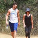 Lea Michele and Matthew Paetz are seen hiking