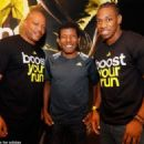 Legends Maurice Greene (l) and Heile Gebrselassie (centre) with up and coming star Yohan Blake (r)