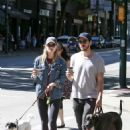 Melissa Benoist With Chris Wood on National Dog Day in Vancouver 08/26/2017 - 454 x 632