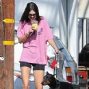 Kendall Jenner with her dog out in West Hollywood