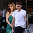 Jennifer Lopez and Ryan Guzman on the set of his new movie 'The Boy Next Door' filming in Los Angeles, California on November 27, 2013