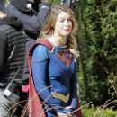 Melissa Benoist – On set of Supergirl with her co-stars in Vancouver