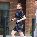 Emma Roberts in Mini Dress on 'Little Italy' set in Toronto