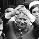 Nikita Khrushchev, Jens Otto Krag and Helle Virkner - 454 x 250