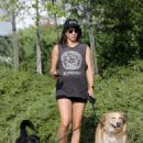 Troian Bellisario walking her dogs in Los Angeles