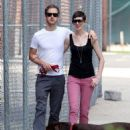 Anne Hathaway and fiance Adam Shulman walking Esmeralda in Brooklyn, NY (August 25) - 454 x 681
