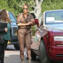 Jennifer Lopez in Leather Jumpsuit – Shopping in Beverly Hills