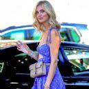 Chiara Ferragni in Blue Mini Dress at Cafe Zinque in Los Angeles - 454 x 681