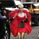 Lady Gaga in Red Dress – Out in New York City